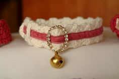 Shop for on Etsy, the place to express your creativity through the buying and selling of handmade and vintage goods. Collar And Leash, Cat Collars, Daisy Mae, Dog Crafts, Cat Accessories, Dog Dresses, Velvet Ribbon, Cute Crochet, Crochet Animals