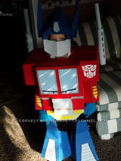 Cool Little Optimus Prime Homemade Halloween Costume... This site is the Pinterest of costumes