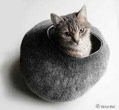 Cat Bed / Cave / House / Vessel - Hand Felted Wool - Warm Gray Stone - via Etsy.