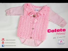 Receita de Crochê Infantil: Colete de Crochê ternurinha para bebê tamanho 1 a 3 meses