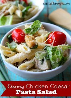 If you like Chicken Caesar Salad and pasta, you'll love it when you combine them in one recipe in this Creamy Chicken Caesar Pasta Salad recipe.  So delicious!
