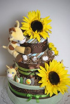 Sun Flower Giraffe Baby Cake by AmazingBoutiqueC on Etsy