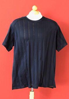 HANRO Of Switzerland Mens Navy Blue Mercerized Cotton Textured T-Shirt XL #Hanro #BasicTee