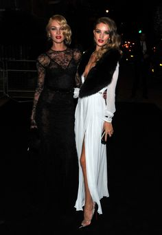 Rosie Huntington-Whiteley and her sister Florence moet and chandon party paris white dress black lace dress