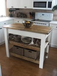 DIY small butcher block kitchen island. All you need is to find nice piece of butcher block wood.