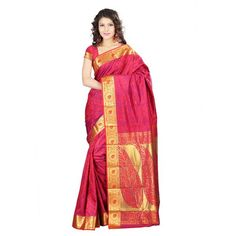 "Designer Red Kanchipuram Art Silk Exclusive Leaf Party  SEASON SALE ADDITIONAL UP TO 20% OFF. USE CODE: ""SALE20"". SHOP NOW  Wear Saree"