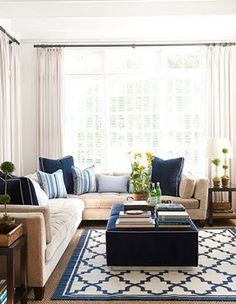 Dark navy blue & Taupe/Beige Living Room (hint: hang sheers completely off the edges of french doors)