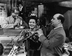 "Barney Bigard with Billie Holiday and Louis Armstrong ( from the 1947 movie ""New Orleans"" )"