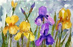 ORIGINAL Floral Watercolor art Iris flowers purple by SchulmanArts, $74.00