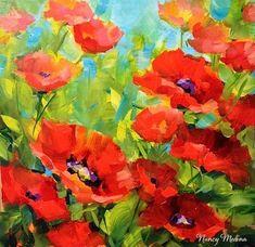 """Crimson Shadows Poppies"" - Original Fine Art for Sale - © Nancy Medina"