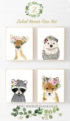 Set Lot of 4 Boho Bohemian Watercolor, Woodland Animals Nursery Art Prints, Whimsical Nursery set! Boho floral nursery, Baby girl nursery, Nursery wall art, Baby room ideas, Baby girl nursery, Woodland nursery girl, Cute nursery animals, hedgehog painting, Deer painting, raccoon painting, Fox painting