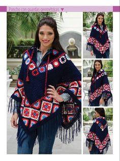 Poncho azul con guardas - Crochet ponchos y bufandas