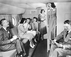 """How can you not love the fact that this 1950s Boeing 377 has a lower lounge area? That kind of """"excess"""" space on a commercial flight seems alien to travelers today. 1950s"""