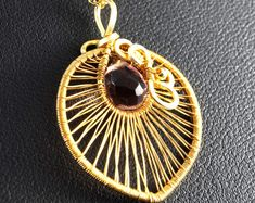 24 K Gold plated pendant with Amethyst / delicate charm / wire wrapped / without chain /