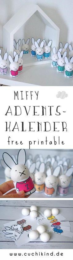 Adventskalender zum Nachmachen mit free printable/kostenlosem Download auf dem Blog. 24 Miffys aus Styroporkugeln und Pappe für Kinder, für das Kinderzimmer. So kann Weihnachten kommen. #adventskalender #miffy