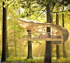 Sailboat inspired tree house suspended from the trees...very interesting!