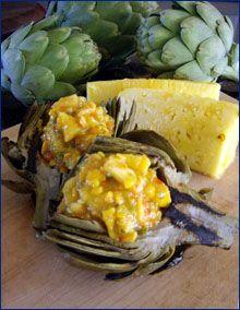 Grilled Artichoke with Pineapple  Mango Salsa