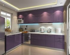 L shape PVC purple cabinet for small kitchen - modern - Kitchen Cabinets - Other Metro - Foshan Yajiasi VC Cucine Kitchen Cabinet Co. Purple Kitchen Walls, Purple Kitchen Cabinets, Kitchen Cabinets Materials, Refacing Kitchen Cabinets, Kitchen Cabinet Design, Interior Design Kitchen, Kitchen Decor, Simple Interior, Cabinet Refacing