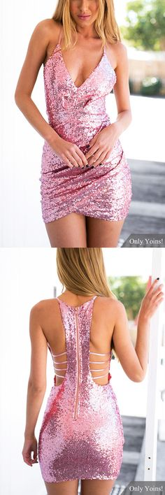 Sequin Pink Dress with Cut Out Back