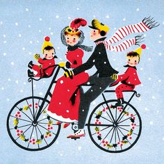 Vintage Christmas card - family on bicycle art/ was thinking would be nice as a window painting with elves n santa too