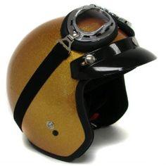 Metalflake Gold Motorcycle Open Face Helmet Cafe Racer Vintage +Goggles (Medium)