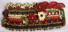 Crochet cuff bracelet in autumn colors by KSZCrochetTreasures on Etsy https://www.etsy.com/listing/255351581/crochet-cuff-bracelet-in-autumn-colors