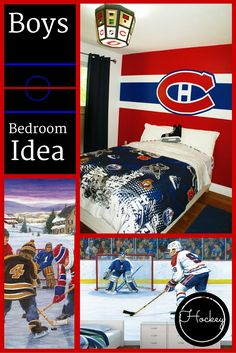 Just finished a hockey #mural for little man, Nolin.  Turned out Aahhmazing!  <3  Check out all the sports boys bedroom ideas I showed to this 11-year-old and see (out of all the wall murals) which Mo (Cool Bedrooms For Men)