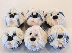 """English Sheepdog cupcakes (or """"Pup"""" cakes if you prefer) made for my Aunt who loves this breed! Puppy Cupcakes, Puppy Cake, Animal Cupcakes, Cute Cupcakes, Baking Cupcakes, Cupcake Recipes, Cupcake Cakes, Cakepops, Cupcake Piping"""