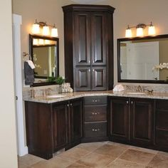 corner bathroom cabinet on corner vanities design ideas pictures remodel and decor - Designs For Bathroom Cabinets