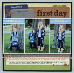 First Day Layout by Stephanie Klauck using Apple Cheddar Soup, Alphabet Soup and Atomic Soup papers.  (via Jillibean Soup blog)