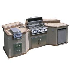 Turn your backyard into a state-of-the-art outdoor kitchen with the cal flame 3 piece BBQ island. Enjoy a resourceful accent to your outdoor patio. This outdoor BBQ island boasts a 2 tone porcelain coun Kitchen Island Frame, Kitchen Islands, Home Depot, 4 Burner Bbq, Cal Flame, Outdoor Refrigerator, Patio Grande, Grill Island, Propane Gas Grill