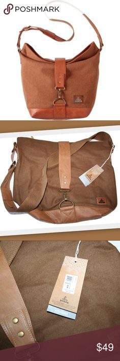 """Prana Preslie Satchel in Tan Prana Preslie Satchel.  Zip closure allows easy access, while a buckle strap clasp adds style. A cotton webbing shoulder strap provides durability, and interior pockets enhance functionality.  Brand new with tags.    Wool polyester blend (shell) 100% polyurethane (trim) 55% cotton, 45% hemp (lining)  15"""" high  19"""" wide 6 3/4"""" deep on bottom Prana Bags Satchels"""