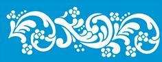 Stencil de Arabesco e Flores 42 x 17cm - STG-028 - Stencil 17 x ...