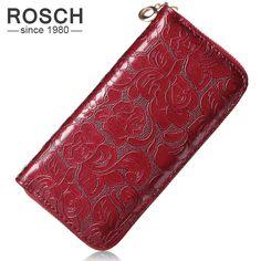 Fashion Women Wallets PU Leather Red Wallet Zipper Clutch Purse floral zipper Long Purse 4 Colors Lady Change Purse