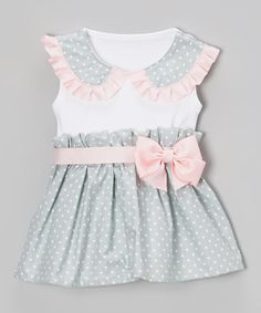 Look at this #zulilyfind! Pink & Grey Scallop Dress - Infant & Toddler by Caught Ya Lookin' #zulilyfinds