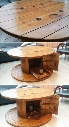 Here we have the durable and much simple elegant designing of the round table design with the comparison taste of wine storage inside it. Hence the charming use of the wood pallet material has been dramatic added up inside it. It look stylish and much a catchier option for your house purposeful useful areas.