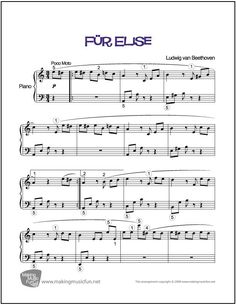 Fur Elise for Easy Piano is a 'Meet the Composer' graded piano solo written to give students the best chance for success while maintaining the integrity of the original work. Visit MakingMusicFun.net for more free and premium sheet music, music lesson plans, great composer resources, and more.