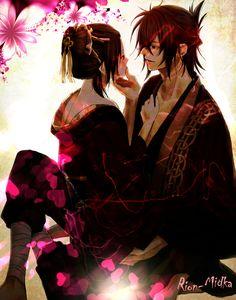Souji  eChizuru - Hakuouki Shinsengumi by Rion-Midka.deviantart.com on @DeviantArt