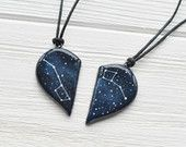 Half heart necklace Big dipper pendant Little dipper gift Two hearts necklace Boyfriend gift Girlfriend gift Dipper constellation Ursa Minor