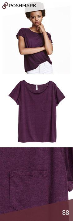 Divided Basic Pocket Tee Basic pocket tee in deep purple. Poly/viscose blend. Size Large. NWOT! Divided Tops Tees - Short Sleeve