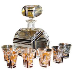 Modernist Black Gold Czech glass decanter set #appliedarts #ArtDeco #Czechia…