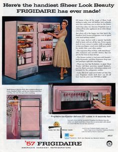 A vintage pink Frigidaire refrigerator advertisement from 1957.