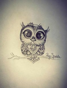 Cute Black Ink Small Owl Tattoo Design