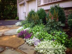 A small front foundation planting design idea.  I always layer my plantings and encourage my plants to creep over the edges of walkways. I try to work with a color scheme, use a variety of textures and stagger bloom times.   Landscape, garden design and construction services in the NJ and NY areas.    845-590-7306    Summerset Gardens Elegant Landscape Design, Fine Workmanship    http://summersetgardens.com