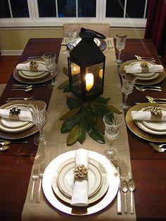 Fall Table Setting - love the burlap and magnolia leaves