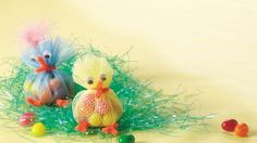 Delightful party favors, these little chicks are filled with jelly beans and embellished with googly eyes and feathers.