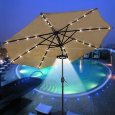 Patio Umbrella Accessories: Wireless 24 LED Light for Outdoor Use, Patio Umbrellas, or Camping Tents   Patio Umbrella Accessories: Wireless 24 LED Light for Outdoor Use, Patio Umbrellas, or Camping Tents  Features:     CE certification for safe use.  3 Switches:  -Outer 20 LED bulbs on/off  -Inter 4 LED bulbs on/off  -Open the light for easy mounting or removal.  Require 3 AA batteries (Not included)     Specifications:     Powerful Lumen: 12,000 lux  LED Lifetime: 50,000 hours  Ligh..