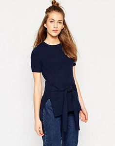 f560f23388fe3 Image 1 of ASOS Knit Tee in Rib Knit with Tie waist Navy Tees