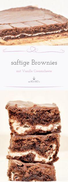 Rezept für super schokoladige und saftige Brownies mit einer Vanille Creamcheese Füllung. Für Schokoladenjunkies genau das Richtige! #Brownies #Chocolate #Kuchen