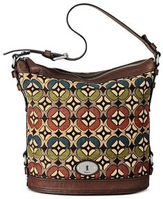 Fossil Handbag, Maddox Tapestry Bucket Bag - Fossil - Handbags & Accessories - Macy's Fossil Handbags, Fossil Bags, Hobo Handbags, Fashion Handbags, Louis Vuitton Handbags, Purses And Handbags, Fashion Bags, Fossil Purses, Couture Cuir